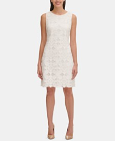 Tommy Hilfiger Petite Burnout Lace A-Line Dress