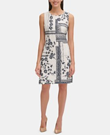 Tommy Hilfiger Patchwork Printed Eyelet Dress