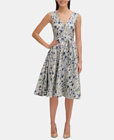 Tommy Hilfiger Floral Jacquard Fit & Flare Dress