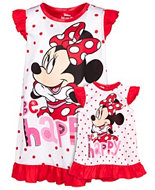 Toddler Girls 2-Pc. Minnie Mouse Graphic Nightgown & Doll Nightgown Set