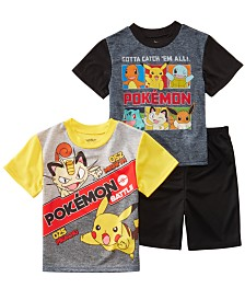 AME Men's Little & Big Boys 3-Pc. Pokémon Graphic Pajamas