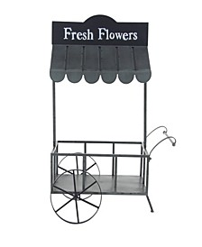 Farmhouse Iron Flower Cart with Roof
