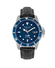 Heritor Automatic Lucius Blue Dial, Genuine Black Leather Watch 41mm