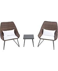 "3-Piece Wicker Scoop Chat Set with Cushions - 33.4"" x 26.7"" x 33.5"""
