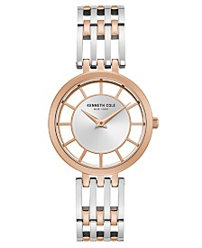 Kenneth Cole New York Ladies' Two Tone Bracelet with Transparent Dial, 34MM