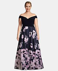 X by Xscape Plus Size Off-The-Shoulder Floral-Print Gown