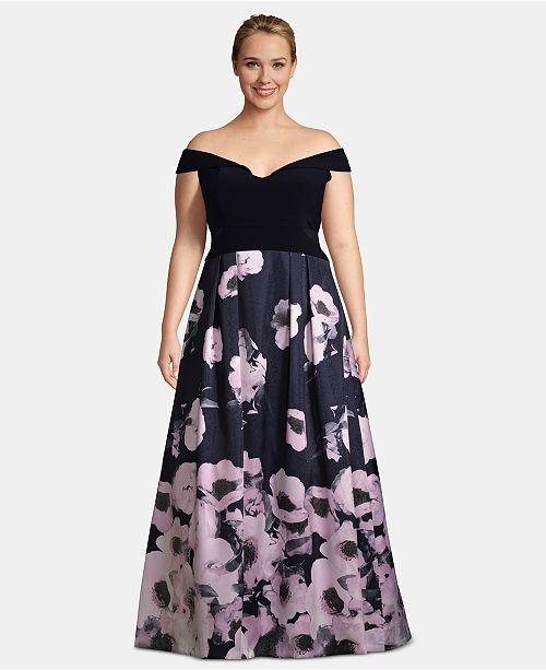 cfc30d180 XSCAPE Plus Size Off-The-Shoulder Floral-Print Gown   Reviews ...