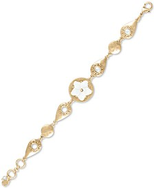 Lucky Brand Gold-Tone Stone Flower Flex Bracelet