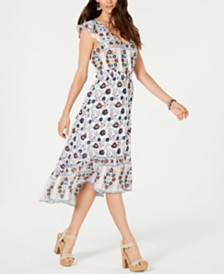 Lucky Brand Felice Cotton Printed Flounce Dress