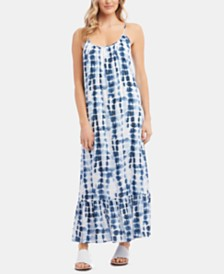 Karen Kane Tie-Dyed Ruffle-Hem Maxi Dress