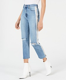 Kendall + Kylie The Icon Side-Zip Straight-Leg Jeans