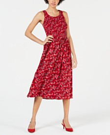 Maison Jules Smocked Printed Midi Dress, Created for Macy's