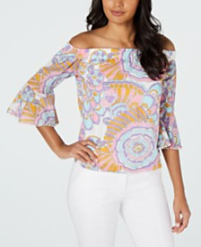 Trina Turk Healdsburg Cotton Printed Off-the-Shoulder Top