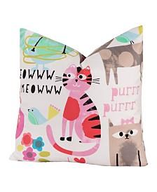 """Crayola Purrty cat 16"""" Designer Throw Pillow"""