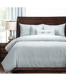 Pologear Gateway Sea Blue Embossed 6 Piece Cal King High End Duvet Set