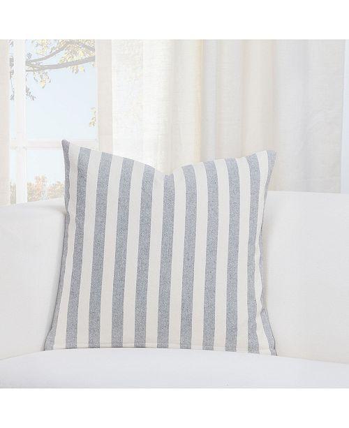 """Siscovers Farmhouse Pewter Striped 20"""" Designer Throw Pillow"""