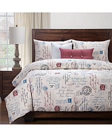 Posctscript Blue 6 Piece Queen Luxury Duvet Set