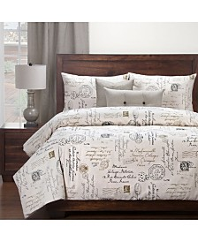 Siscovers Postscript Linen 6 Piece Full Size Luxury Duvet Set