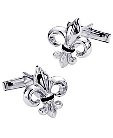 Sutton Sterling Silver And Onyx Fleur-De-Lis Cufflinks