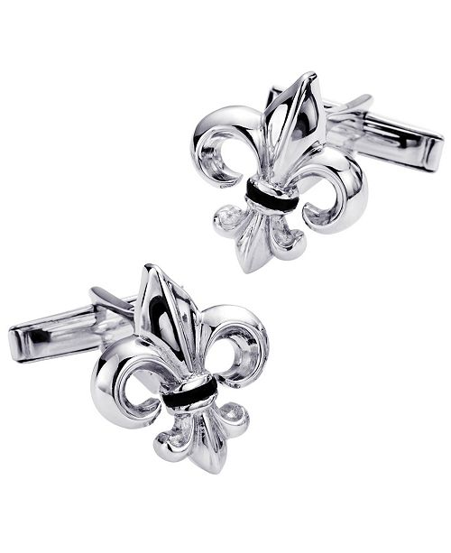 Rhona Sutton Sutton Sterling Silver And Onyx Fleur-De-Lis Cufflinks