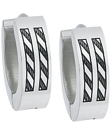Sutton Stainless Steel Etched Stripes Huggie Earring Set