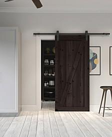 Farm Style Sliding Door, Distressed Smoke Finish