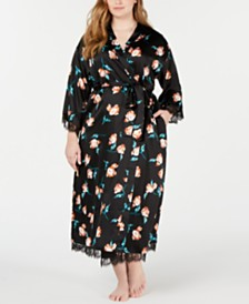 I.N.C. Plus Size Lace-Trim Floral-Print Long Robe, Created for Macy's