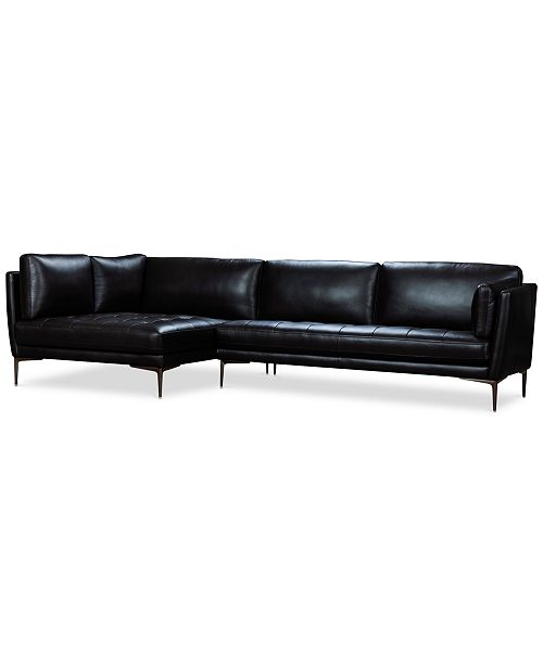 Koah 123 2-Pc. Leather Cuddler Chaise Sectional Sofa, Created for Macy\'s