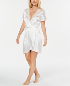 Linea Donatella Ivory Juliet Short Satin Robe