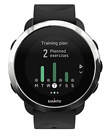 Suunto 3 Fitness Watch, Black Silicone Band with a Square Face and a Digital Dial