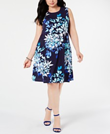 Jessica Howard Plus Size Floral-Print Trapeze Dress