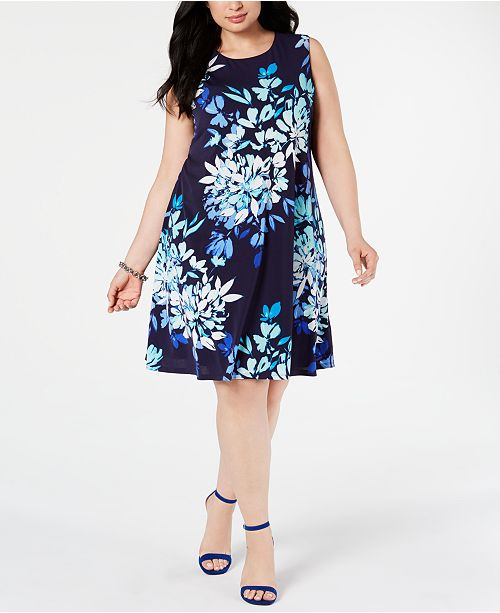 Tailles fleuri a tailles Jessica HowardRobe grande tailleRobes Bleu trapèze imprime ynP8wv0mNO