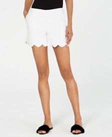 Trina Turk Scalloped Mid-Rise Shorts