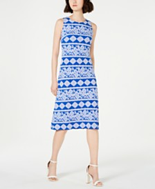 Jessica Howard Petite Puff-Print A-line Dress