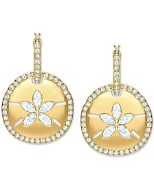 Swarovski Gold-Tone Crystal Hoop & Sand Coin Convertible Earrings