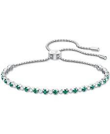 Swarovski Silver-Tone Crystal Slider Bracelet