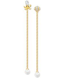 Swarovski Gold-Tone Crystal & Imitation Pearl Ocean-Motif Convertible Mismatch Earrings