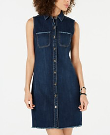 Style & Co Petite Frayed Denim Sleeveless Shirtdress, Created for Macy's