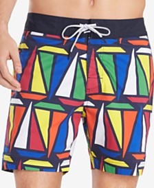 "Tommy Hilfiger Men's Hunter TH Flex Stretch Sailboat-Print 6-1/2"" Board Shorts"
