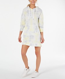 Calvin Klein Performance Tie Dye Printed Logo Hoodie Dress