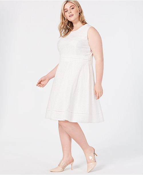 Calvin Klein Plus Size Eyelet Fit and Flare Dress & Reviews ...