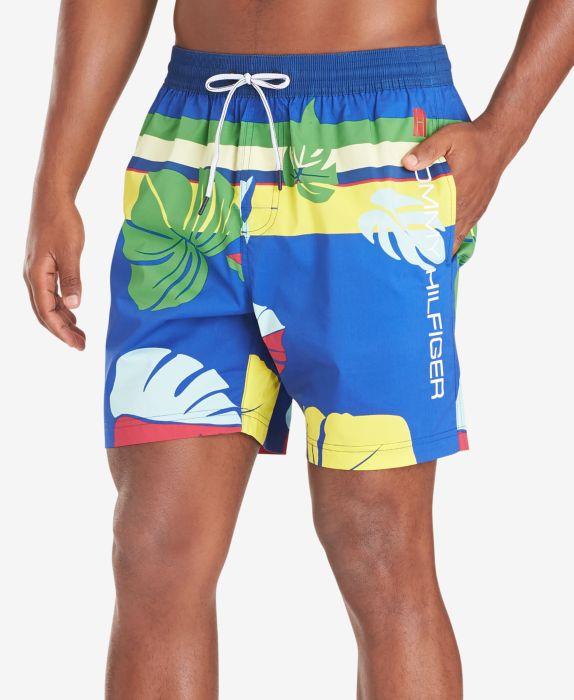"Tommy Hilfiger Mens McCallister TH Flex Stretch Tropical-Print 6-1/2"" Swim Trunks  , Blue, Size: XL"