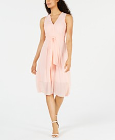 Anne Klein Dot-Print Pleated A-Line Dress