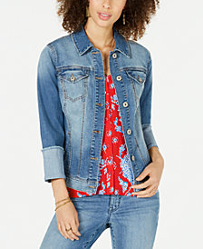 Style & Co Petite Wide Cuff Denim Jacket, Created for Macy's