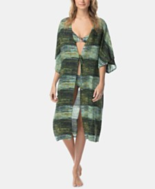 Vince Camuto Midnight Waves Printed Midi Kimono Cover-Up