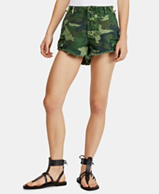 Free People Commander Cutoff Printed Shorts