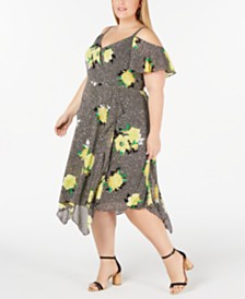 I.N.C. Plus Size Cold-Shoulder Midi Dress, Created for Macy's