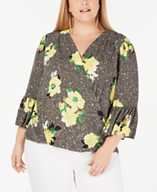 I.N.C. Plus Size Floral-Print Gingham Surplice Top, Created for Macy's
