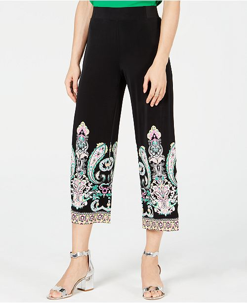 INC International Concepts I.N.C. Petite Printed Cropped Wide-Leg Pants, Created for Macy's