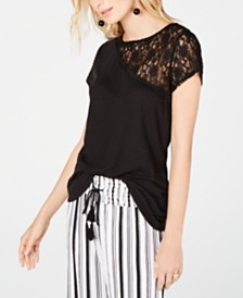 I.N.C. One-Shoulder Lace Short-Sleeve Top, Created for Macy's